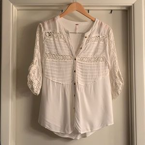 Free People Eyelet Button Down